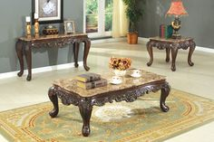 3pcs Traditional Marble Top Coffee End Table Set in Antique Cherry