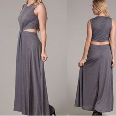 Clearout Sale!!!!!!!Grey Cut-Out Maxi Dress