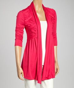 Colour Works Pink Pleated Open Cardigan | Something special every day