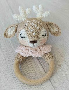 Crochet pattern for reindeer teething ring