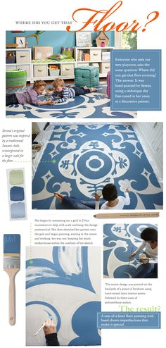 Handpainted floor cloth--an ideal solution to the issue of hardwood floor + office chairs = issues with high-pile area rugs.