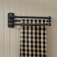 New Vintage Style Three Prong Wood Peg Hand Towel Hanger Bar Wall Rack Black