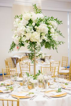 Tall white and green centerpiece Wedding Flowers, Table Settings, Place Settings, Wedding Ceremony Flowers, Table Arrangements, Desk Layout