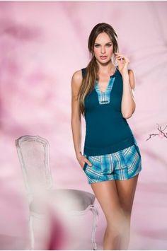 Pijama Pantalón Corto Color Azul, Peplum, Tops, Women, Fashion, Babydoll Sheep, Shorts, Short Shorts, Athletic Wear