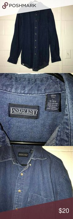 Land's End Denim Button Up Comfortable & Casual Vintage Land's End Button Up! Gently worn but still in great condition! Although this is a Mena button up, I worn this shirt like a casual dress with leggings and booties!  Neck to bottom hem: 30' Lands' End Shirts Casual Button Down Shirts