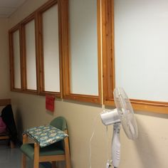 The windows as they looked before I decorated them. West Suffolk Hospital Eye Clinic.