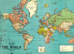 Vintage World Map. Old World Map  Vintage by ModernismAndVintage
