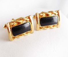 Tuxedo Cuff links Classy Sculpted Black Onyx by NeatstuffAntiques