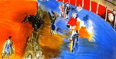 """Raoul DUFY, interpretation #lithograph taken from an original gouache on canvas done in 1944  titled """"Bullfight, running with bulls """" from a private collection.  This interp... #etsy #prints #artists #gallery #lithographs #corrida #bullfight #toreador #epsteam #aoteam #faoteam #artcircleteam"""