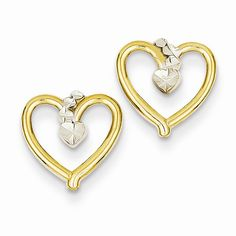 Heart Earrings https://www.goldinart.com/shop/childrens-jewelry/heart-earrings #14KaratYellowGold, #HeartEarrings