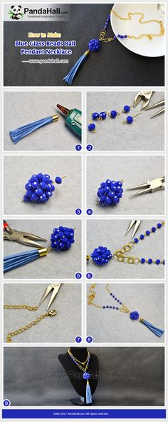 PandaHall Inspiration Project----Blue Glass Beads Ball Pendant Necklace The highlights of the necklace are the round blue glass beads ball and tassel made with faux suede cords. These two elements make the necklace special. PandaHall Beads APP is on, down