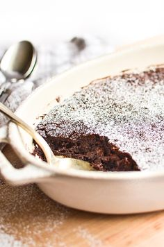Ina Garten's Brownie Pudding is a rich chocolate dessert with a crispy, crackly crust and a dense, spoon-able center. It's like a deep-dish flourless chocolate cake! Brownie Pudding, Chocolate Pudding Cake, Flourless Chocolate Cakes, Pudding Desserts, Chocolate Desserts, Easy Desserts, Delicious Desserts, Dessert Recipes, Yummy Food