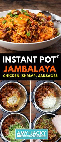Jambalaya Recipe Instant Pot, Best Instant Pot Recipe, Instant Recipes, Instant Pot Dinner Recipes, Jambalaya Recipe Pressure Cooker, Easy Pressure Cooker Recipes, Pressure Cooker Chicken, One Pot Meals, Easy Meals