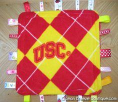 USC  Trojans   Minky Taggy BlanketLoveyTag by oceanbreezeboutique, $10.00