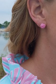 Nautical Knot Pink Earrings Love this Pink: https://www.shoppinwithsailin.com/collections/earrings/products/nautical-knot-pink-earrings?utm_content=buffer016d8&utm_medium=social&utm_source=pinterest.com&utm_campaign=buffer  Every nautical loving gal needs these earrings in her jewelry collection. Simple, classic, perfect!  Get yours today! Handmade by Studio G in Massachusetts!  Pink Nylon Approximately 1cm round Made in USA FREE SHIPPING!!!