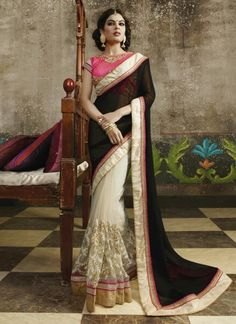Enticing Off White Resham Work Net Designer Saree