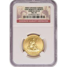 2008-W First Spouse Van Burens Liberty Half Ounce Gold Coin MS70 NGC