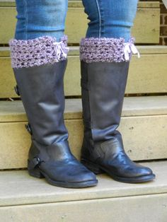 Boot Cuffs. Crochet Purple Boot Toppers with by Sewstacy