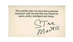 Buenísima la tarjeta de Steve Martin...