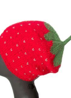 Hand knitted hat  Strawberry hat Womens by thekittensmittensuk, £17.00
