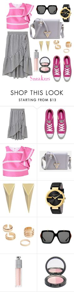 """""""Pink Sneakers"""" by ana-amorim ❤ liked on Polyvore featuring MANGO, Converse, WithChic, Alexis Bittar, Gucci and Christian Dior"""