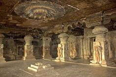 The Ajanta and Ellora caves in Maharashtra are the most famous Asian caves in India. The Ajanta Caves, dating back to 2nd century BCE, and consisting of thirty Buddhist monuments carved in stone, contain the finest surviving examples of traditional Indian painting and sculpture, revolving around religious art. The thirty-four monumental caves of Ellora have rock-cut temples, viharas and mathas of Hindus, Buddhists and Jains, representing religious harmony during 5th – 10th centuries.