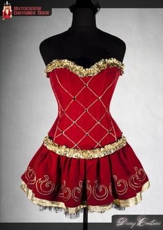 NUTCRACKER COSTUME, made to order, steel boned corset, layered skirt with handmade embroidery, custom size