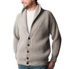PETER SCOTT Mens 100% Pure New Wool Shawl Collar Cardigan BA800: Light Grey -Peter Scott Gents - Dunedin Cashmere