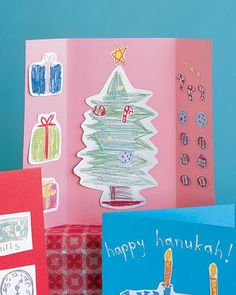Kids can send season's greetings to friends and family by making Christmas cards from household materials. All they need to complete these projects is a creative spirit and some holiday cheer.