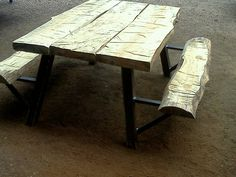 Raw Picnic Table tutorial Primitive Wood Crafts, Rustic Log Furniture, Picnic Table Plans, Wood Craft Patterns, Backyard Picnic, Guest Towels, Rustic Design, Decoration, Woodworking Projects