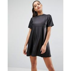 ASOS Mini T-Shirt Dress in PU ($46) ❤ liked on Polyvore featuring dresses, black, tee shirt dress, t shirt dress, mini t shirt dress, high neck prom dresses and night out dresses