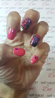 Pink nails with konad stamping nailart