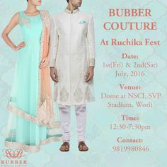 Bubber Couture is proud to exhibit its new festive collection at Ruchika Fest on Friday & Saturday 1st & 2nd of July, 2016 at Dome at NSCI, SVP Stadium, Worli from 12:30-7pm. The collection to be showcased, is a mix of delicate vs royal ensembles of capes, tunics, kurtas, gowns and sherwani lehengas for women and bandhis, kurtas, sherwanis and a fun range of pocket square boxes for men. Hope to seeing you there! #bubbercouture #sherwani #anarkalli #pearl #indianwear #womenswear #menswear