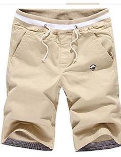 pantaloncini casuale cotone blu cachi degli uomini