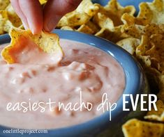 This nacho dip only has two ingredients! It's super quick to throw together and it tastes delicious.