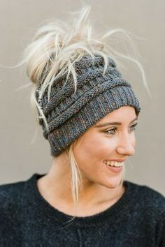 Knitted Messy Bun Beanie from @threebirdnest #beanies #fall #outfits #messybuns #ponytailhats #fALLOUTFITS
