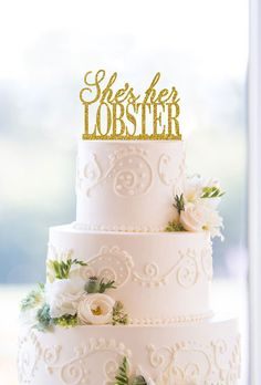 """Brides: """"She's Her Lobster"""" Wedding Cake Topper. A Friends-inspired laser-cut topper by Jodi Wentz of Chicago Factory."""