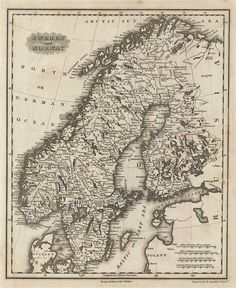 Malte-Brun map of Sweden and Norway Old Maps, Antique Maps, Vintage Wall Art, Vintage World Maps, Paris Map, Okinawa Japan, Travel Maps, Historical Maps, City Maps