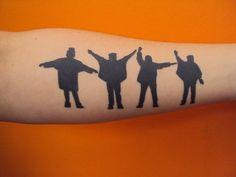 silouhettes, thats a unique idea Blackwork, Beatles Tattoo Sleeve, Chicano, Sleeve Tattoos, Beatles Tattoos, Animal Tattoo, Blackwork Tattoo, Ink, Chicano Tattoos