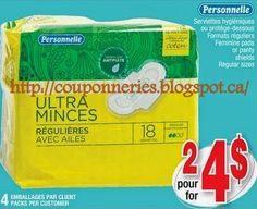Coupons et Circulaires: 2,00$ Personnelle serviettes ou protège-dessous