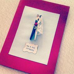 Bröllopskort av klädnypa