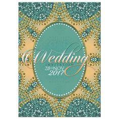 Teal Glitter Wedding Invitation
