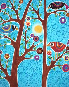 Naif Patterns In Folk Paintings By Karla Gerard – Very Beautiful And Colored These Canvas Painted With Acrylics By Karla Gerard American Artist From Waterville Folk Patterns And Motives Very Happy And Naif That You Can Admire In Karlas Gall Karla Gerard, Motif Floral, Naive Art, Whimsical Art, Tree Art, Bird Art, Oeuvre D'art, Painting Inspiration, Art Lessons