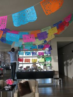 Flags for the cinco de mayo indoors party