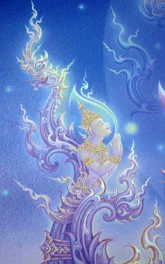 Buddha Painting, Buddha Art, Winged Serpent, Temple Thailand, Thai Art, Learn Art, Visionary Art, Installation Art, Buddhism