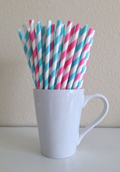 25 Bubblegum Pink and Tiffany Blue and White Striped Paper Party Straws and DIY Printable Drink Flags / Wedding / Birthday / Baby Shower