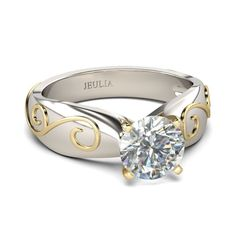Yellow Gold Cirrus Inlaid 2-tone Round Cut Created White Sapphire Rhodium Plating Sterling Silver Women's Ring