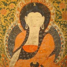 Watercolor scroll painting from Tibet portraying Amitabha