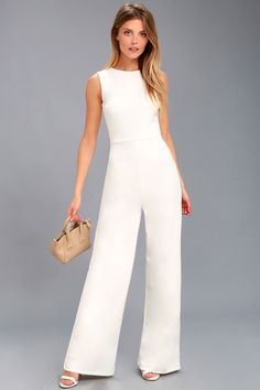 64daea23b132 Refine and Poise White Backless Wide-Leg Jumpsuit 2 Dressy Rompers And  Jumpsuits