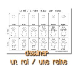 La maternelle de Laurène: Dessiner un roi / une reine Kindergarten Drawing, Kindergarten Lesson Plans, Chateau Moyen Age, How To Drow, Directed Drawing, Cartoon Drawings Of Animals, Prince And Princess, Simple Art, Learn To Draw